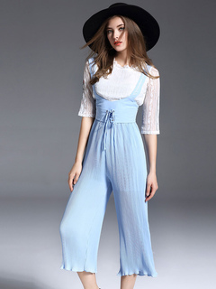 Two Piece Set Letter Embroidered Lace Top With Light Blue Lace Up Suspender Pants