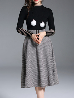 Women Skirt Set Striped Long Sleeve Pom Poms Black Top With Houndstooth Skirt