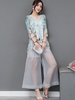 Women Two Piece Set V Neck Floral Print Semi Sheer Silk Top With Wide Leg Pants