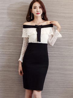 Black Bodycon Dress Lace Bows Off The Shoulder Two Tone Spring Pencil Dress