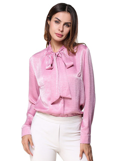 Spring Women Top Bows Long Sleeve Button Pink Casual Blouses
