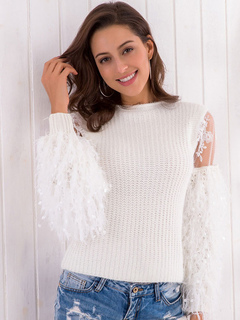 White Pullover Sweater Lace Fringe Women Cotton Long Sleeve Patchwork Knitted Top
