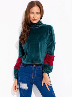 Women Vintage Sweatshirt Long Sleeve High Collar Two Tone Patchwork Green Short Top