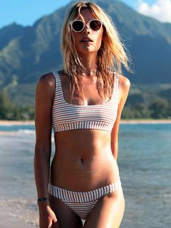 Women White Swimsuit Two Piece Striped Cotton Beach Swimwear