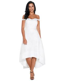 Women Long Dress White Off The Shoulder High Low Summer Dress