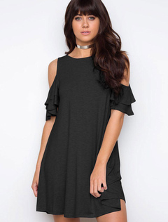Black T Shirt Dress Ruffles Cold Shoulder Crewneck Spring Cotton Dress