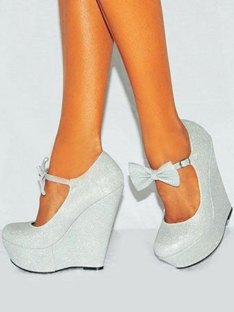 Zapatos de cuña de plata más el tamaño de las mujeres zapatos con  lentejuelas punta redonda 479cb7d56112