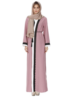 Women Kaftan Dress Color Block Long Sleeve Sash Cotton Pink Dress