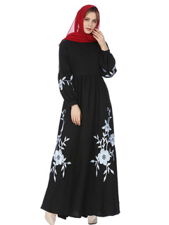 Maxi Kaftan Dress Embroidered Long Sleeve Round Neck Cotton Black Dress