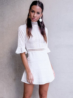 White Mini Dress Cut Out High Collar Flared Sleeve Women Summer Dress