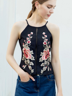 Black Cami Top Embroidered Strappy Back Zipper Women Sleeveless Top