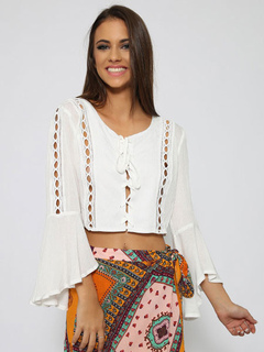 Women Crop Top White Flared Sleeve Cut Out Ruffle Lace Up Top