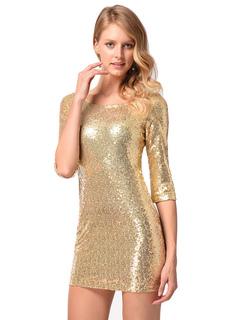 Women Club Dress Sequins Half Sleeve Gold Metallic Slim Fit Sexy Mini Dress