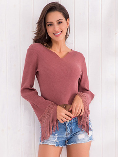 Women Crop Top Knitted Notched Neck Long Fringe Bell Sleeve Cotton Pullover Sweater