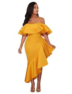 230c8a5ed Vestido de fiesta de las mujeres volantes fuera del hombro Vestido  asimétrico de verano amarillo