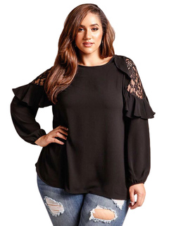 Plus Size Blouses Black Long Sleeve Round Neck Lace Ruffles Spring T Shirt For Women