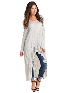 Women Spring Top Long Sleeve Lace High Low Light Gray Casual T Shirt