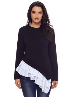 Women Black Sweatshirt Long Sleeve Crewneck Ruffles Two Tone Layered Spring Top