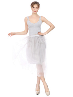 Women Two Piece Set Knitted Sleeveless Grey Top With Tulle Long Skirt