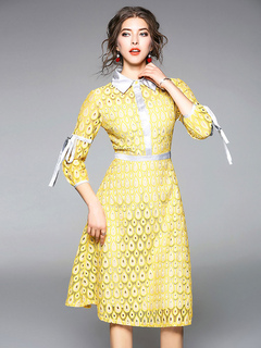 Women Shirt Dress Bows Peacock Pattern Turndown Collar Spring Yellow Midi Dress