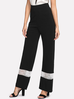 Women Long Pants Black High Waist Lace Patchwork Two Tone Flared Leg Trousers