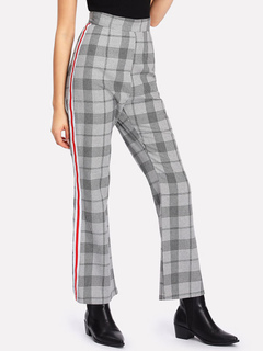 Women Vintage Pants Grey High Waist Plaid Spring Straight Leg Trousers