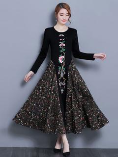 Women Spring Dress Long Sleeve Crewneck Embroidered Patchwork Cotton Long Dress