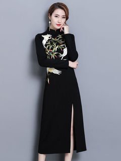 Black Long Dress Long Sleeve Stand Collar Embroidered Split Chinese Style Spring Dress For Women