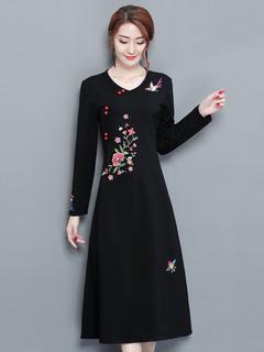 Black Maxi Dress Long Sleeve V Neck Embroidered Split Spring Cotton Long Dress For Women