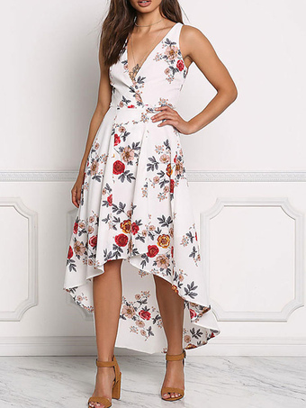 Summer Long Dress Women Boho Floral Print Maxi Dress V Neck Sleeveless Chiffon White Dress