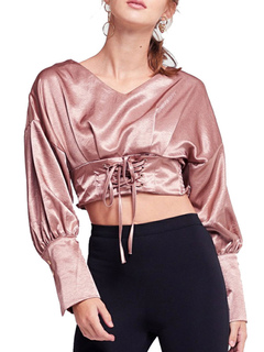Women Crop Top Long Sleeve V Neck Lace Up Pink Top