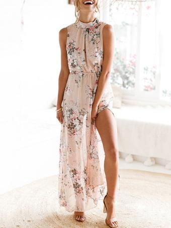 Boho Maxi Dress Floral Print Chiffon High Collar Split Soft Pink Summer Long Dress For Women