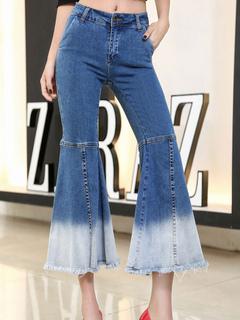 Women Denim Jeans Blue Two Tone Bell Flare Pants