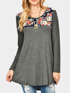 Women T Shirt Long Sleeve Floral Print Patchwork Scoop Neck Grey Cotton Top