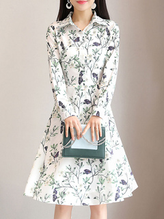 White Shirt Dress Long Sleeve Floral Print Buttons Brocade Women Midi Dress