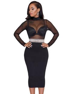 Sexy Club Dress Black Long Sleeve High Collar Rhinestone Net Patchwork Women Pencil Dress