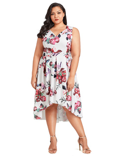 Plus Size Dress V Neck Sleeveless Floral Print Pleated Low High Women Summer Dress
