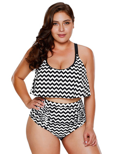 Women Plus Size Swimsuit Sleeveless Zigzag Print High Waist Two Piece Beach Bathing Suit
