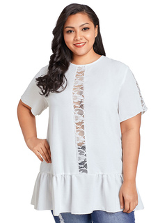 Plus Size T Shirt White Lace Patchwork Short Sleeve Ruffles Summer Top