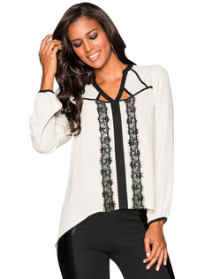Women White Blouses Long Sleeve V Neck Two Tone Casual Top