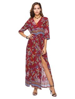 Boho Long Dress V Neck Printed Split Three Quarter Sleeve Beach Summer Maxi Dress For Women