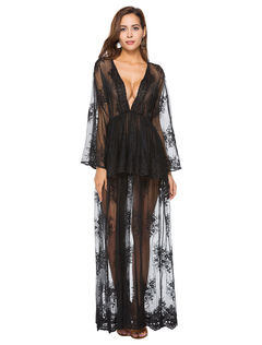 Sexy Club Dress Black Lace V Neck Flared Sleeve Sheer Long Dress For Women