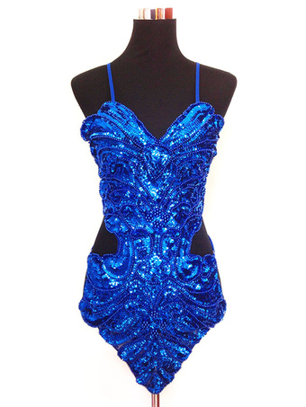 2452a67d06b5b Latin Dance Costume Women Glitter Royal Blue Sequin Latin Dancing Dresses