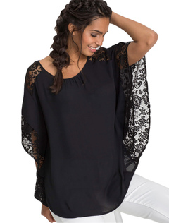 Oversized Women Blouse Black Half Sleeve Round Neck Lace Summer Top