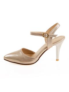 Zapatos de tacón medio de puntera puntiaguada de tacón irregular estilo modernopara pasar por la noche Piel sintética 77vlzlQk