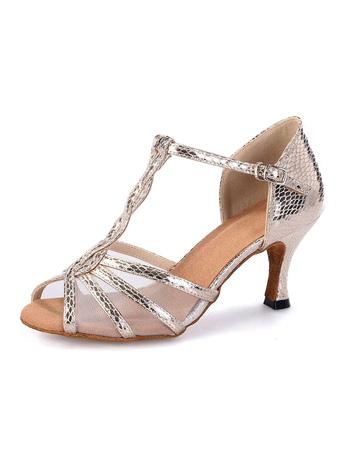 ff224eafcebb Zapatos de latín 2019 punta abierta estilo T tacón alto Zapatos de baile de  mujer