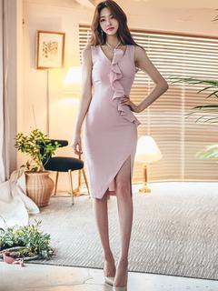 Sexy Bodycon Dress V Neck Sleeveless Ruffles Pink Summer Dress