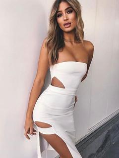 Sexy Bodycon Dress White Women Dress Strapless Sleeveless Cut Out Sheath Dress