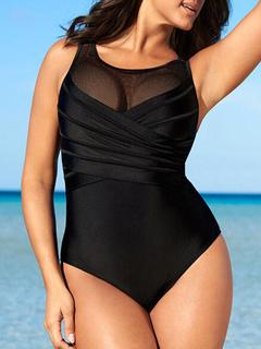 4b2f9a259 Traje de baño de talla grande traje de baño negro sin espalda sin mangas  para las