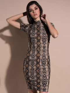 Brown Bodycon Dress Women Short Dress High Collar Short Sleeve Snake Printed Sheath Dress
